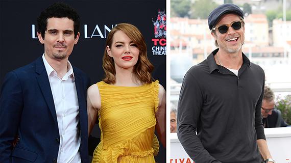 Damien Chazelle con Emma Stone, y Brad Pitt